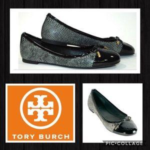 TORY BURCH Black Python Print Flats NWT